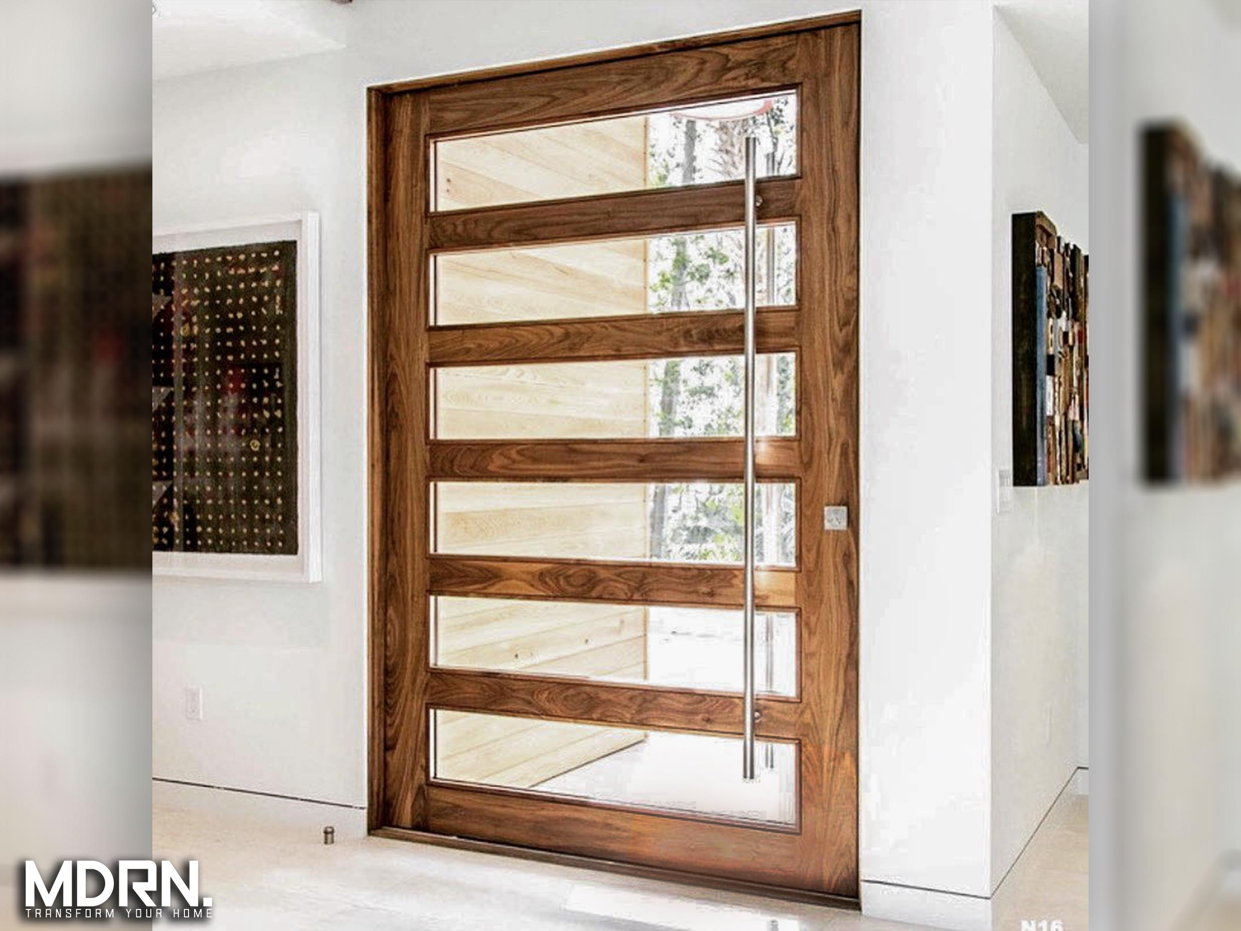 Wood and Glass Pivot Entry Doors